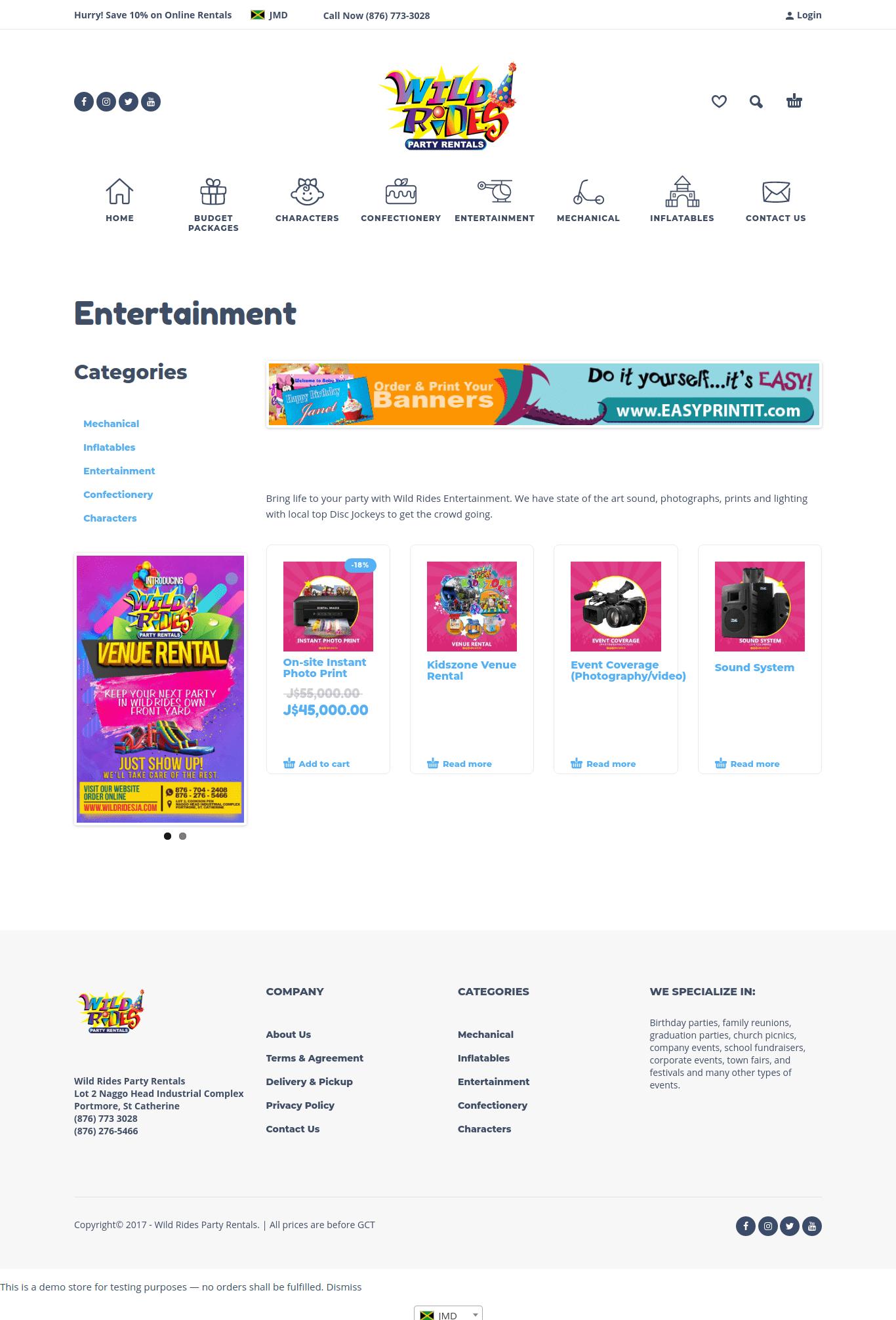 wild rides party rentals website